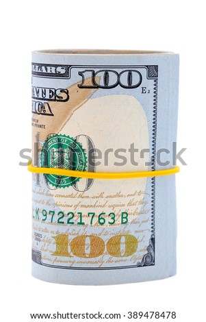 100 dollar bills roll isolated with white background - stock photo