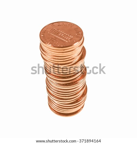 Dollar coins 1 cent wheat penny cent currency of the United States in a pile isolated over white vintage - stock photo