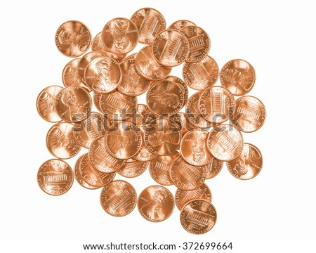Dollar coins 1 cent wheat penny cent currency of the United States isolated over white background vintage - stock photo