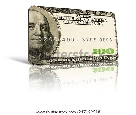 100 dollar credit card concept - stock photo