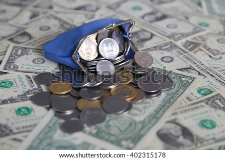 1 dollar, paper money, wallet, coins, Indian money rupees, - stock photo