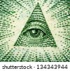 Dollar USA,  pyramid,  eye. Extreme closeup.Macro - stock photo