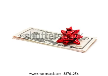 50 Dollar with holidays bow isolated on white
