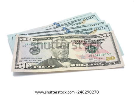 100 dollars and 50 dollar ( dollars banknote ) isolated on white background.  - stock photo