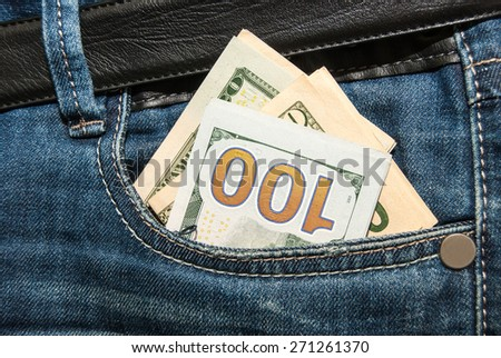 100 dollars banknote in the back jeans pocket - stock photo