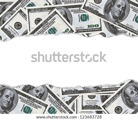 100 dollars banknotes background with blank space in middle - stock photo