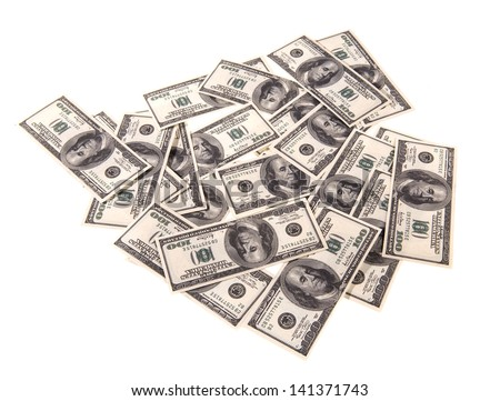 100 dollars banknotes isolated on a white background