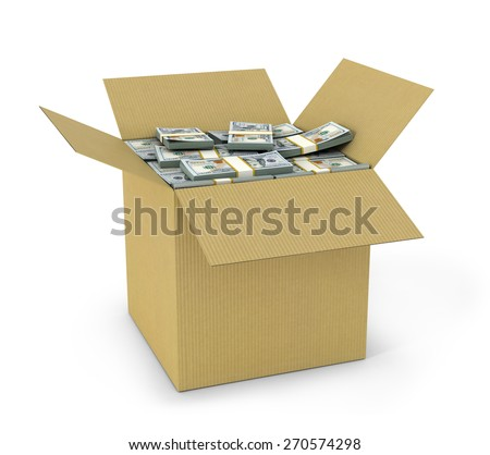 dollars bills in cardboard box isolated on white background - stock photo