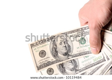600 dollars in the hand  isolated over white
