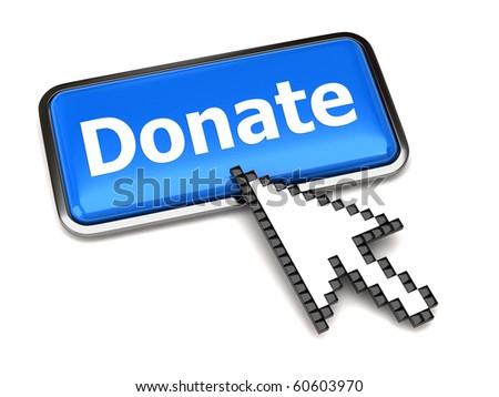 Donate button and arrow cursor - stock photo
