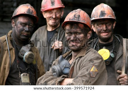DONETSK, UKRAINE - May 14 , 2008: Mine Oktyabyrskaya miners after the working day - stock photo