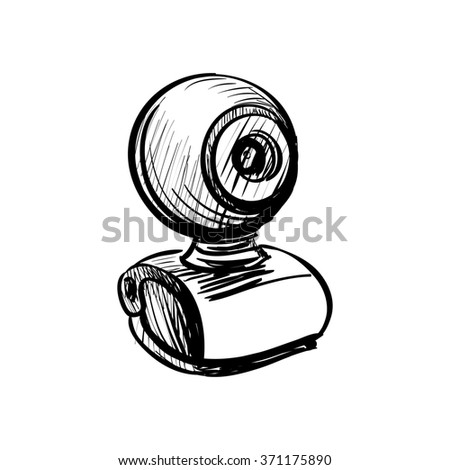 doodle web cam icon illustration on a white background - stock photo