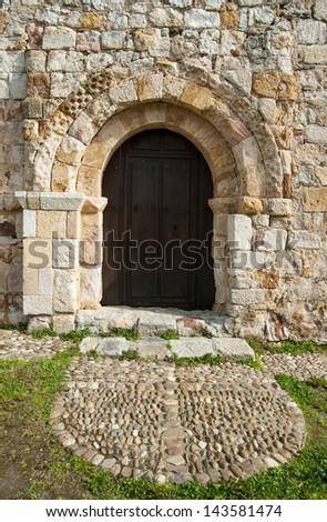 Door of santiago old Zamora, Spain, Europe - stock photo