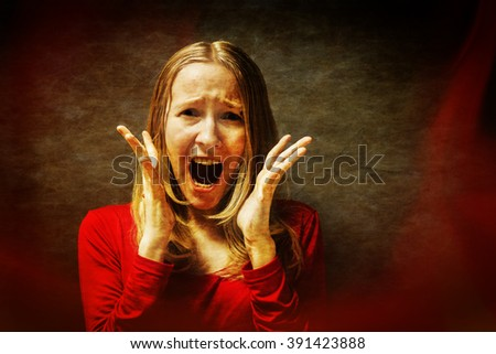 Double Exposure photo. Frightened shocked scared woman