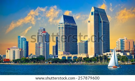 Downtown San Diego Cityscape and Sunset, California USA. California Tourism - stock photo