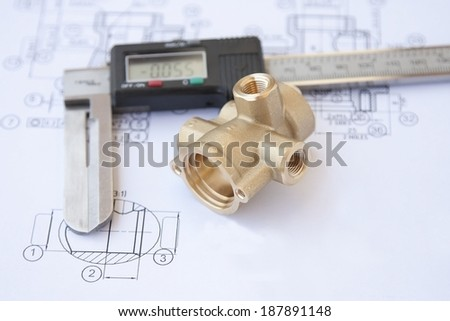 drawing and part of brass - stock photo