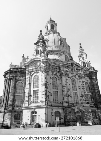 Dresdner Frauenkirche meaning Church of Our Lady in Dresden Germany in black and white - stock photo