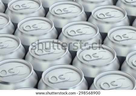 drink metallic cans, top view isolated on white background