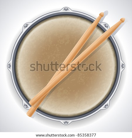 drum and drumsticks - raster version - stock photo