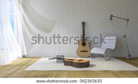 3Ds rendered guitars in the room, Old wood floor,Guitar, Chair, lamp and books lay on white carpet, White fabric curtains being blown by wind, sunlight from window and shadow on the floor - stock photo