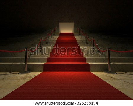 3ds rendered image of the red carpet on marble stair  - stock photo