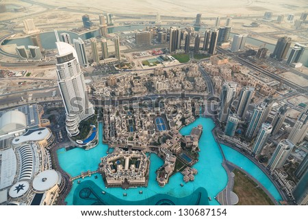 DUBAI, UEA-January 28,View on Dubai from the highest tower in the world, Burj Khalifa (828 metres) on January 28,2013 - stock photo