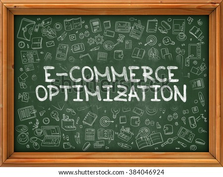 E-Commerce - Hand Drawn on Chalkboard.  E-Commerce with Doodle Icons Around. - stock photo