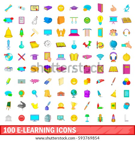100 e-learning icons set in cartoon style for any design  illustration