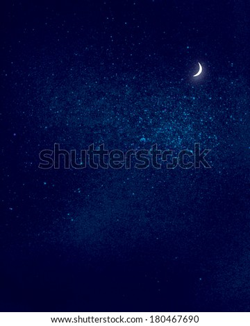 early moon on a background of outer space. abstract background.