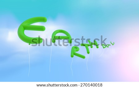 """EARTH DAY"" Font from balloon fly to sky.Earth Day concept.Clipping path - stock photo"