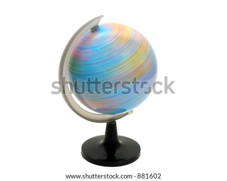 Earth globe spinning over white background with clipping path - stock photo