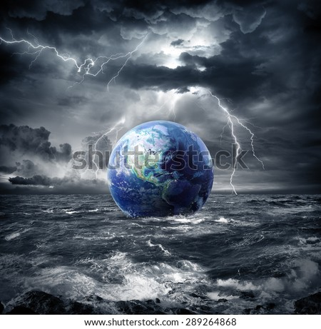earth in the storm - apocalypse in Usa - Elements are furnished by NASA - stock photo