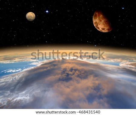 "Earth, Moon and Mars ""Elements of this image furnished by NASA"""