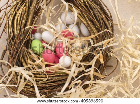 Easter colorful eggs in the nest