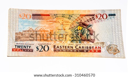 20 Eastern Caribbean dollars bank note. - stock photo