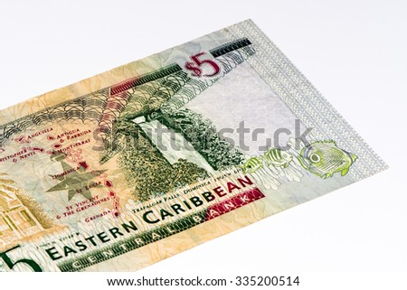 5 Eastern Caribbean dollars bank note.