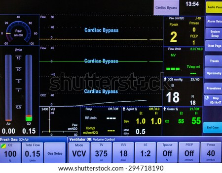 ECG/EKG  monitor in operation room - stock photo