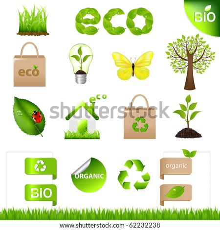 18 Eco Design Elements And Icons, Isolated On White Background
