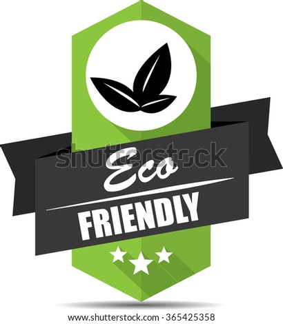 100% Eco friendly label and sign. - stock photo