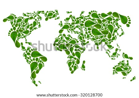 ecological map of the world in green foot print,  isolated on white background - stock photo