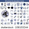 55 education icons in blue and black colors. Vector version also available in portfolio - stock vector