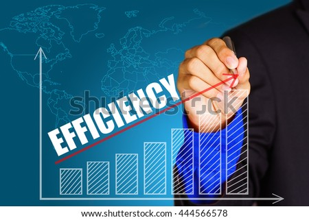 """""""Efficiency"""" text with hand of young businessman point on virtual graph red line and bar showing on increasing with background -business, finance, salary, crisis, and development concept - stock photo"""