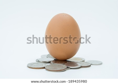 egg with coins isolated on white  - stock photo