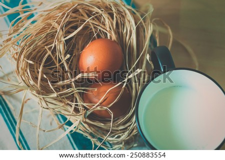 Eggs in rustic style, Easter - stock photo