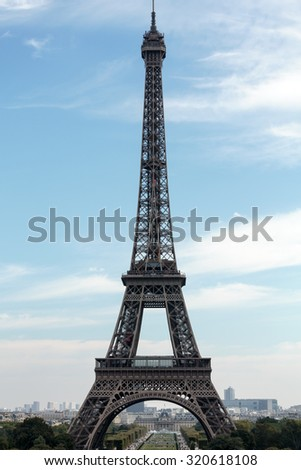 Eiffel Tower - The most famous symbol of Paris - stock photo