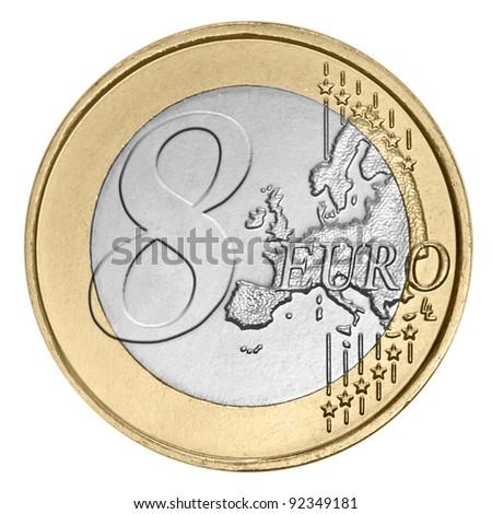 Eight euro coin on white - stock photo