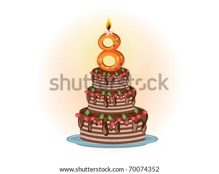 Eighth birthday,cake - stock photo