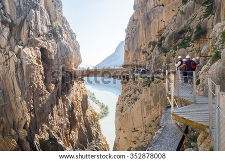 'El Caminito del Rey' (King's Little Path), World's Most Dangerous Footpath reopened in May 2015. Ardales (Malaga), Spain. - stock photo