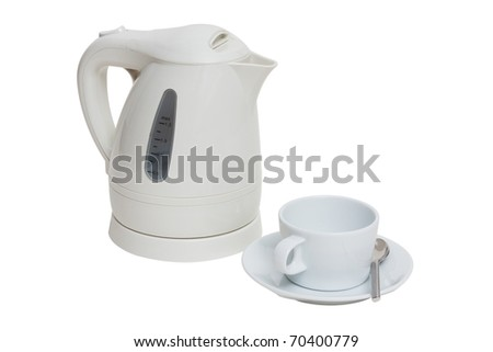 electric kettle and cup isolated white - stock photo