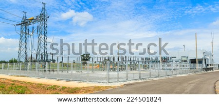 electrical substation - power station - stock photo